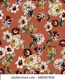 small flowers peony and rose with wildfowers and vintage leaves seamless pattern fabric print texture. Colorful floral elements  on orange color background.