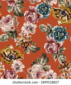 Small flowers vintage illustration pattern seamless colorful texture fabric print, with roses, peony, small group bouquet floral elements and antique vintage leaves on orange background.