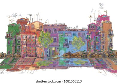 A small fragment of a fairytale city on a white background and its reflection. Illustration.