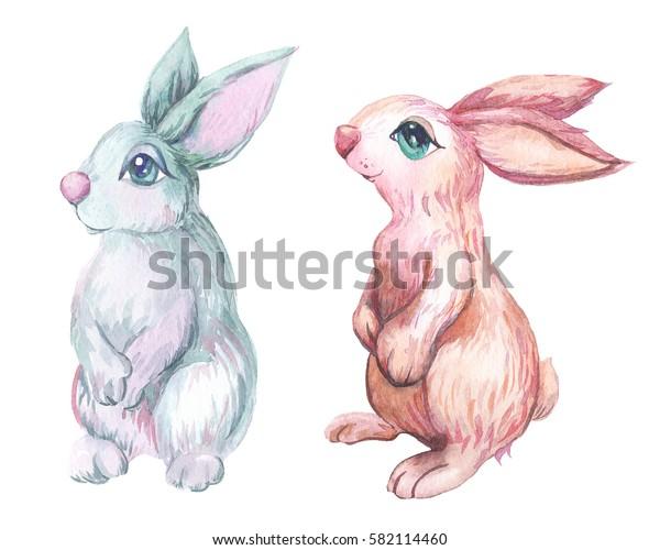 small gentle bunnies watercolor illustration