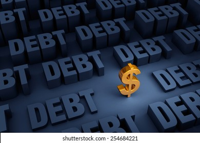 """A small, gold dollar sign stands in a dark background of gray """"DEBT"""" rising up around it."""