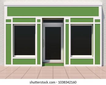 Small green shop facade 3D render