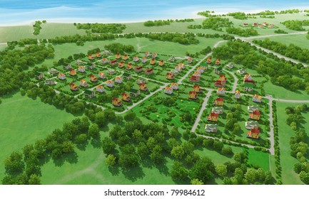 Small green village from above. 3d rendering.