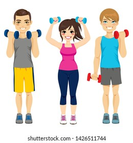 Small group of people doing fitness sport with dumbbell