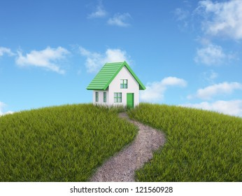 Small house on a grassy hill