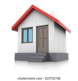 Small house with red roof on white background. 3D rendering