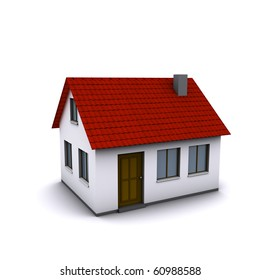 A small house with red roof on a white background. Created in 3D.