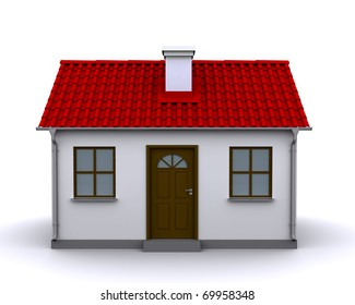 small house with red roof on a white background, front view