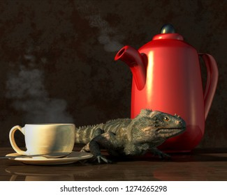 A small iguana sits on a table between a steaming cup of coffee and a bright red coffee pot.  All three things are reflected in the shining wood of the table surface. 3D Rendering