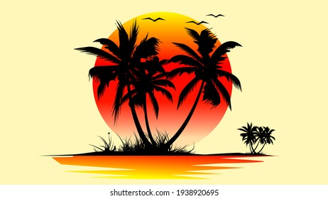 A small island in the sea with coconut trees at sunset. Illustration of sunset.