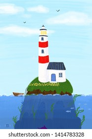 Small island in sea with lighthouse and caretaker's house. Background. Picture.