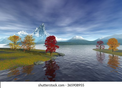 Small islands in the lake, a alpine landscape, with coniferous trees, the background is snowy mountains and a cloudy sky.