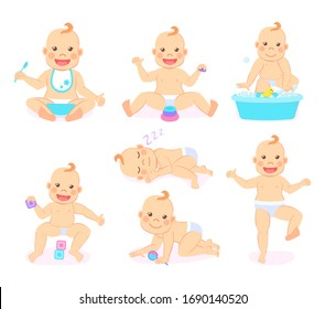 Small kid raster, funny child wearing bib and eating food from bowl, baby playing cubes and sleeping, container with water and bubbles duck rubber toy