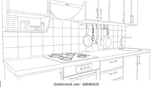 Small kitchen area with utensils and tile splash back. Outline perspective drawing.