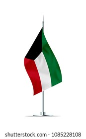 Small Kuwait flag  on a metal pole. The flag has nicely detailed textile texture. Isolated on white background. 3D rendering.