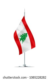 Small Lebanese flag  on a metal pole. The flag has nicely detailed textile texture. Isolated on white background. 3D rendering.