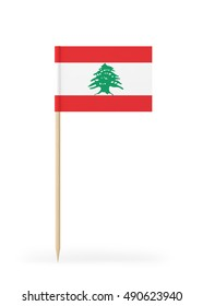 Small Lebanese flag on a toothpick. The flag has nicely detailed paper texture. High quality 3d render. Isolated on white background. 3D rendering.