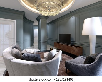 A small living room with a semi-circular sofa and a comfortable armchair near the TV stand. The interior design of the living room with blue walls and marble floors. 3d rendering