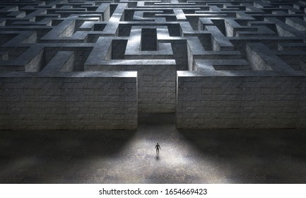 Small man entering a huge mysterious maze. Business and life concept. 3d rendering