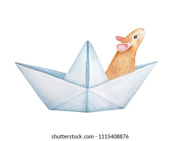 Small mouse character floating in paper boat. Curious, smiling, looking up, positive emetions. Hand drawn water color graphic paint on white background, isolated. Beige, orange, red, fawn colours.