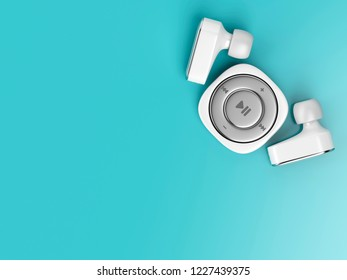 Small mp3 player and wireless earphones on blue background, top view. 3D illustration