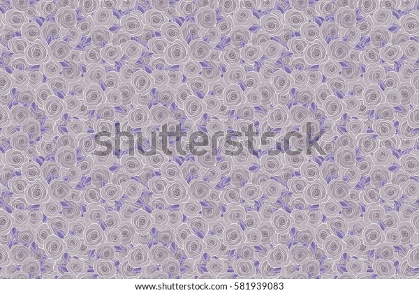 Small neutral rose flowers. Raster seamless floral pattern. Cute seamless pattern in small rose flowers.