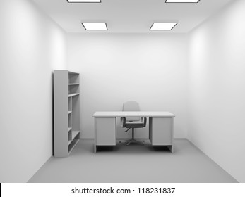 A small office with a chair and table