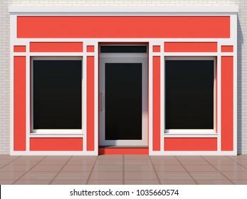 Small orange shopfront - modern store facade 3D render