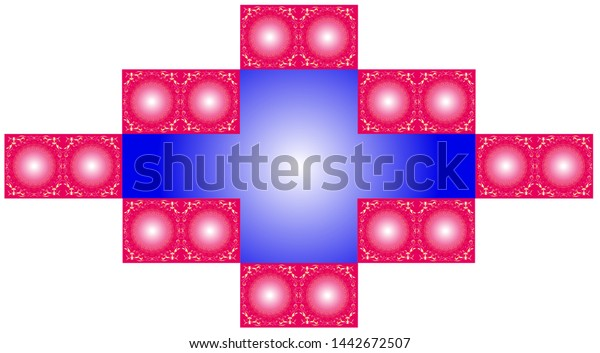 Small ornaments of various shapes and sizes line a pair of loose circles with color gradients, and a group in conjunction forms a frame.