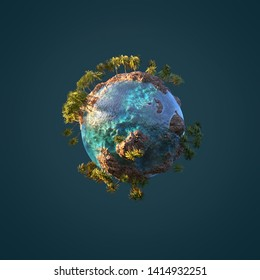 small palm planet in space, 3d illustration