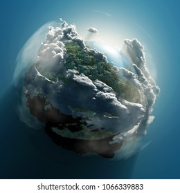 small planet in clouds, 3d illustration
