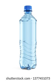 Small plastic bottle of still water with blue cap isolated on white background. Front view close-up. 3D illustration