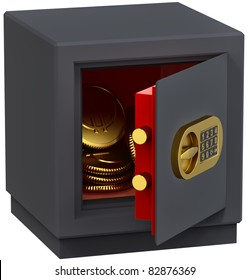small safe with gold coins as a symbol of microcredit in banks and risk-free bank money storage