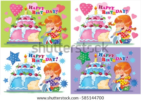 Royalty Free Stock Illustration Of Small Set Birthday Greeting Cards