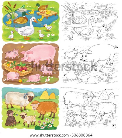 Small Set Coloring Pages Cute Farm Stock Illustration 506808364