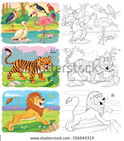 Royalty Free Stock Illustration Of Small Set Coloring Pages Cute