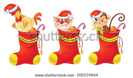 Small Set Cute Funny Animals Christmas Stock Illustration Royalty