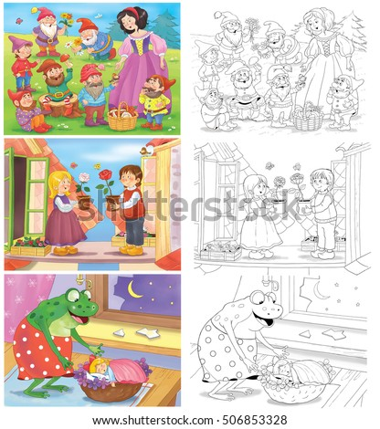 Small Set Fairy Tale Coloring Pages Stockillustration ...