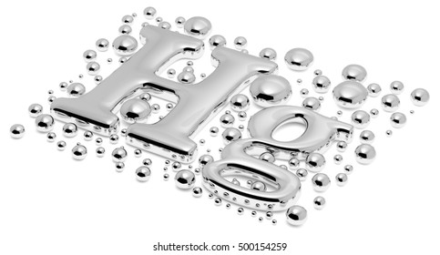 Small shiny mercury (Hg) metal chemical element sign of toxic mercury metal with drops and droplets of toxic mercury liquid isolated on white background closeup, 3d illustration
