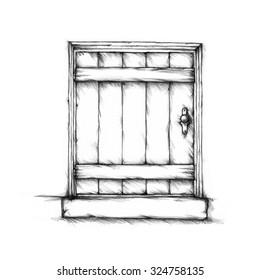 Small, simple wooden door
