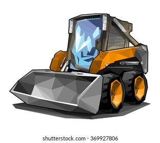 A small skid loader in polygonal style.