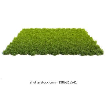 Small square surface covered with grass, grass podium, lawn background 3d rendering
