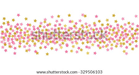Small Stars Pink And Gold Confetti Border Illustration Bright Sparkle Design Element For Tags