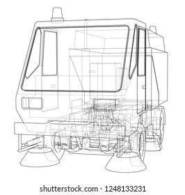 Small Street Clean Truck Concept. 3d illustration. Wire-frame style