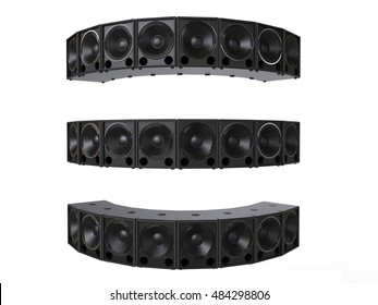 Small subwoofer speakers - facing all directions and angles - 3D Render