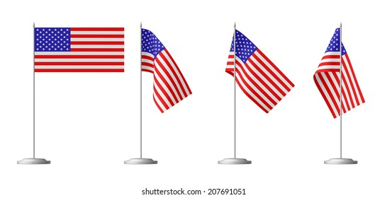 Small table flag of United States of America on stand isolated on white, 3d illustrations set