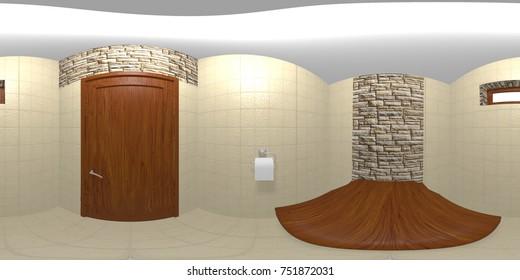 small toilet room hdri enviroment map 3D illustration