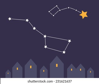 Small town on the night sky background with constellation Dipper  and Pole Star