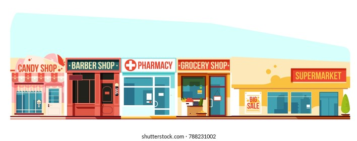 Small town street cityscape, flat style. City house, urban architecture building, illustration