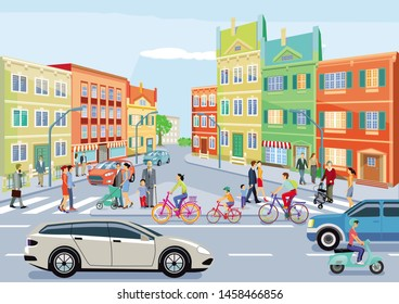 Small town with traffic and pedestrians